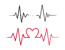 Hand Drawn Heartbeat Icons Set.