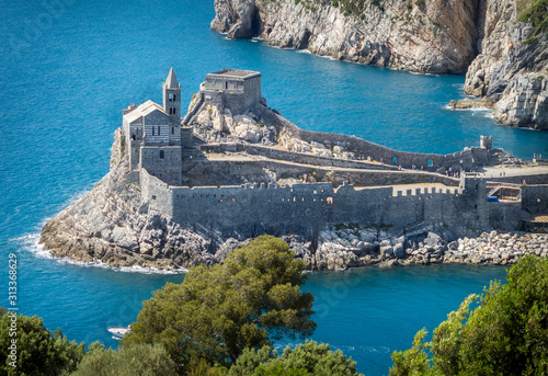 Porto Venere (Portovenere), Liguria, Italy: beautiful aerial scenic view of the Church of St Fototapet