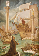 "TAORMINA, ITALY - APRIL 9, 2018: The Painting Of Of Glorious Dreams Of Don Bosco  ""Sogno-Due-Colonne-Don-Bosco"" OrThe Two Pillars By Calondruccio (1959)."