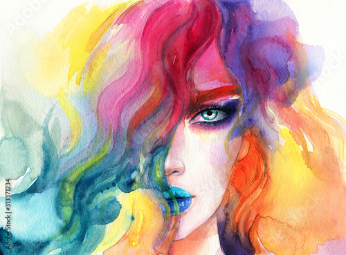 beautiful woman. fashion illustration. watercolor painting - 313371234