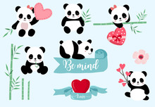 Simple White Panda Character With Heart.Vector Illustration Character Doodle Cartoon