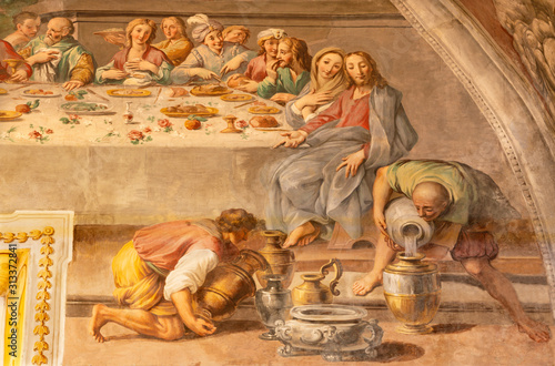 Stampa su Tela ACIREALE, ITALY - APRIL 11, 2018: The detail of fresco of The miracle at the wedding at Cana in Duomo by Pietro Paolo Vasta (1735-1739)