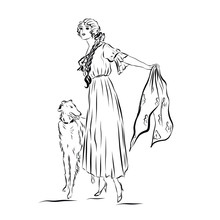 Elegant Vintage Woman With Dog...