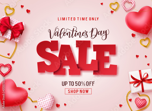 Obraz Valentines day sale vector promotional banner. Sale text with hearts, gifts and jewelry elements in pink background for valentines day discount promotion. Vector illustration. - fototapety do salonu