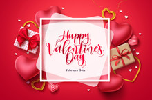 Happy Valentines Day Vector Background Template. Valentines Greeting Typography In White Space For Text With Hearts, Gifts, And Jewelry Elements. Vector Illustration