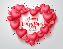 Valentines Hearts Vector Background. Happy Valentines Day Greeting Typography In Red Heart Shape Space For Text With Hearts Elements In White Background. Vector Illustration.
