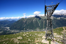 Aerial Lift Pylon Of The Aiguille Du Midi Cable Car Above Chamonix, France