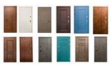 Set Of Wooden Doors Isolated O...