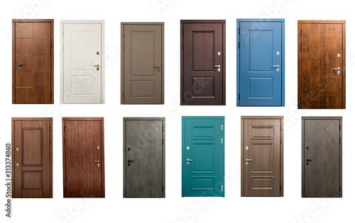 Fototapeta Set of wooden doors isolated on white background obraz