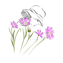 Woman In Hat With Flowers