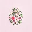 Leinwanddruck Bild - Easter egg shape made of flowers, leaves and quail eggs. Natural Floral pattern