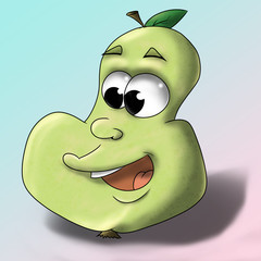 Cartoon cute pear with gradient background