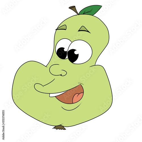 Cartoon cute pear flat