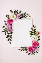 Empty Notepad And Floral Frame In Pastel Colors. Romantic Concept, Boho Style
