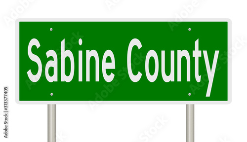 Rendering of a green 3d highway sign for Sabine County Wallpaper Mural