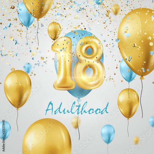 Golden balloons numbers 18 years adulthood celebration, golden and turquoise balloons and confetti Tablou Canvas