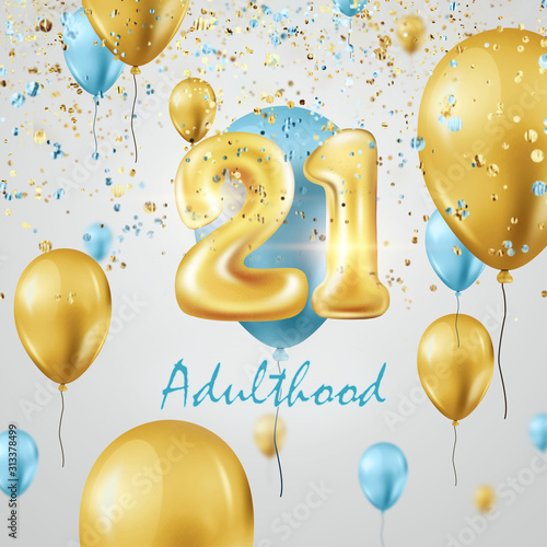 Golden balloons numbers 21 years adulthood celebration, golden and turquoise balloons and confetti Fototapet