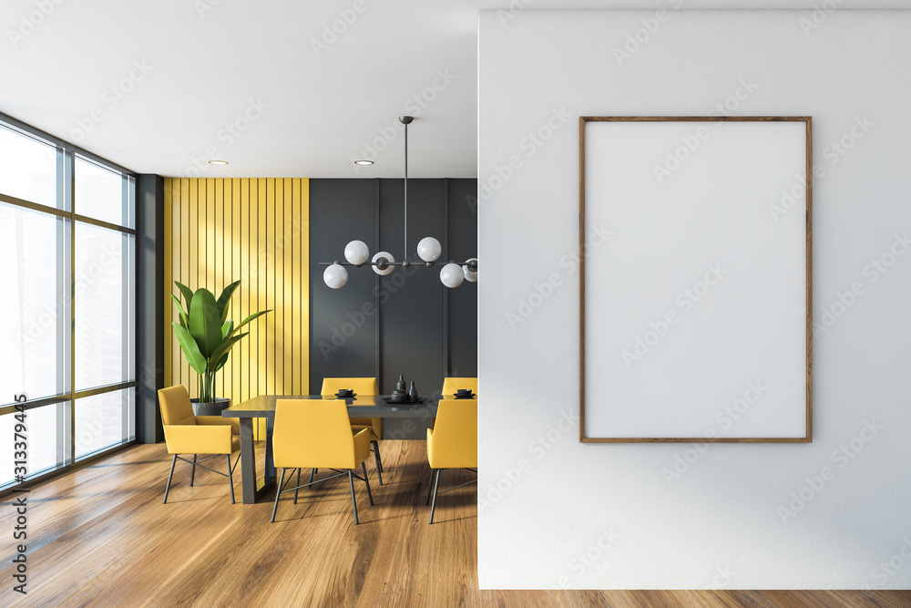 Fototapeta Gray and yellow dining room with poster