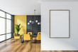 canvas print picture - Gray and yellow dining room with poster