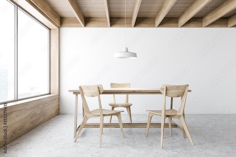 Fototapeta White and wooden dining room interior