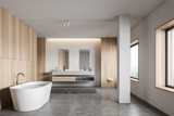 White tile and wood bathroom interior