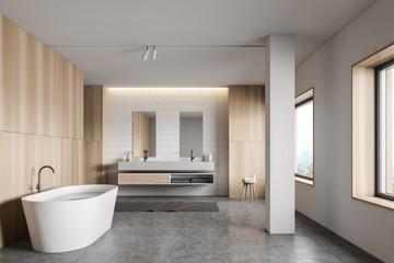 FototapetaWhite tile and wood bathroom interior
