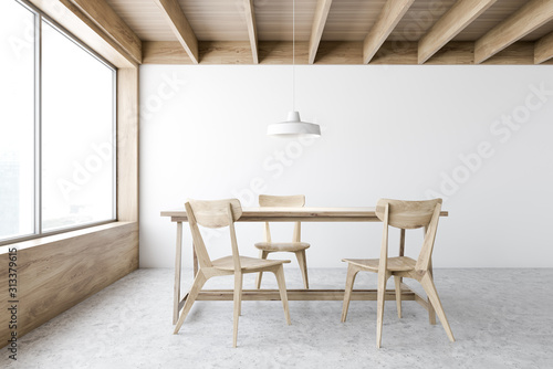 plakat White and wooden dining room interior