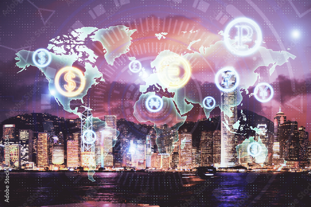 Fototapeta Double exposure of forex chart drawings over cityscape background. Concept of success.