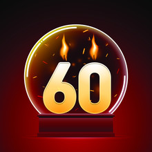 60th Years Anniversary Celebration, Glass Ball With Numbers On Dark Red Background. Vector Illustrator