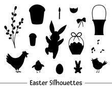 Vector Set With Easter Silhouettes. Collection Of Black Outlines Of Cute Bunny, Egg, Chirping Bird, Chick, Basket, Cake, Willow. Spring Funny Illustration. .