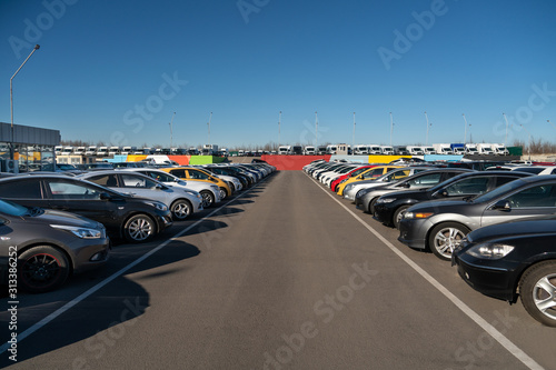 obraz PCV Cars in a row. Used car sales
