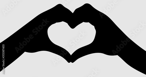 Fotografie, Tablou hands making love shape heart symbol icon