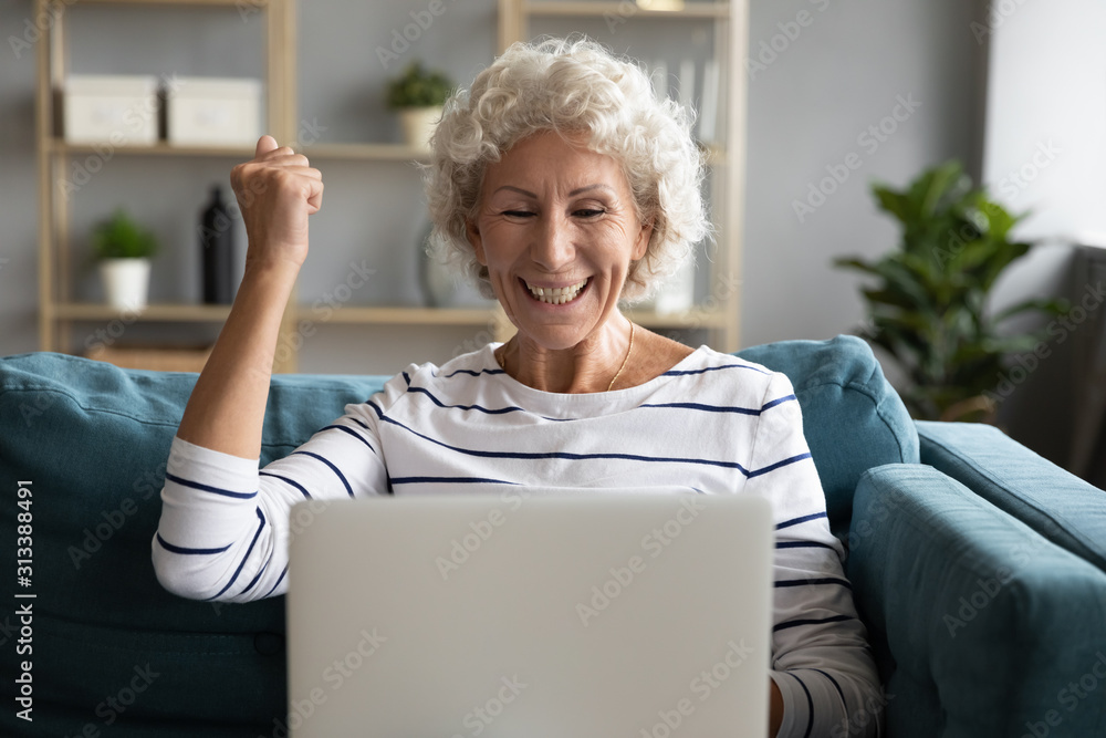 Fototapeta Excited aged woman feels overjoyed received great online news