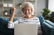 Excited aged woman feels overjoyed received great online news