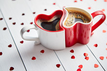 Two Heart Shaped Coffee Cups C...