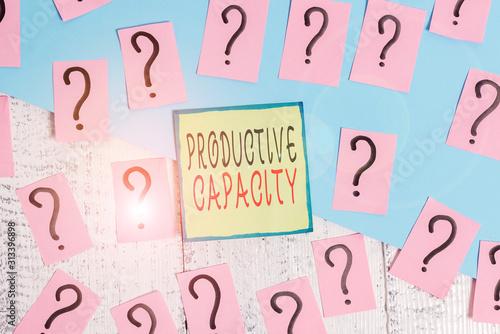 Photo Handwriting text writing Productive Capacity