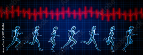 Sportswoman running sequence movements and heartbeat ekg curve Canvas-taulu