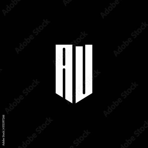 Photo AU logo monogram with emblem style isolated on black background