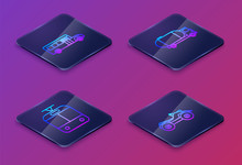 Set Isometric Line School Bus, Tram And Railway, Tanker Truck And All Terrain Vehicle Or ATV Motorcycle. Blue Square Button. Vector