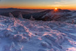 canvas print picture - Mountain winter landscape in the Ukrainian Carpathians on the background of the sunset.