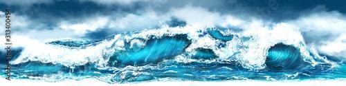 Fototapeta Sea storm panorama obraz