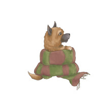 A Small Red Dog Of The Spitz Breed Sits Dressed In A Scarf. Illustration Isolated On White Background
