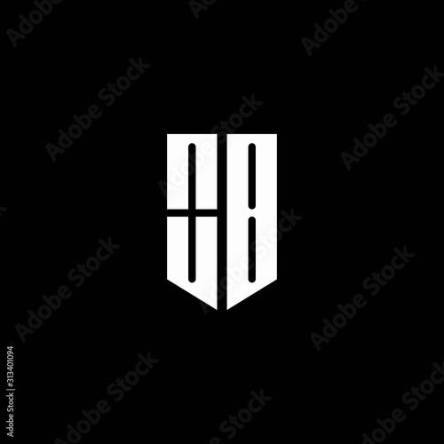 Fotomural  OB logo monogram with emblem style isolated on black background