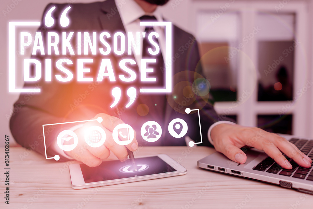 Fototapeta Text sign showing Parkinson S Is Disease. Business photo showcasing nervous system disorder that affects movement