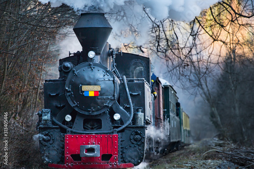 Fotografía  Steam train puffing along the tracks