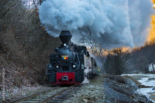 Fototapeta Steam train puffing along the tracks obraz na płótnie