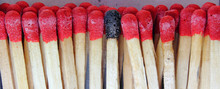 Panoramic Closeup Of Matches With Burnt Match Head