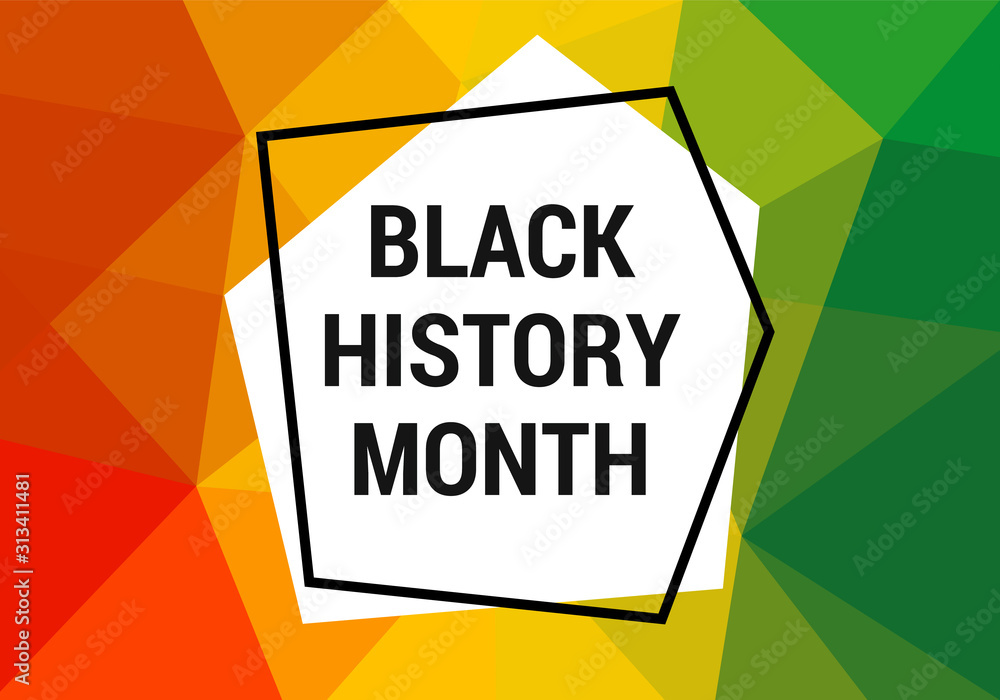 Fototapeta Black history month celebration vector banner. Art with low poly abctract modern African colors. African-American History Month illustration for social media, card, poster.