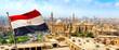 Leinwanddruck Bild Flag and Mosque Sultan