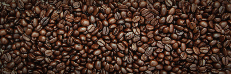Fototapeta Kawa Roasted Coffee Beans background texture.